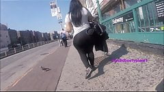Humongous Candid Dominican Phat Booty in See-Thru Leggings!