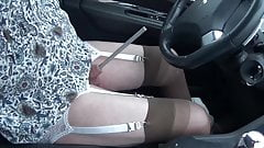 shemale tranny sounding urethral car road lingerie nylon dil