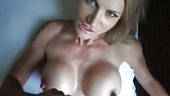 JJ - cum on her huge fake tits
