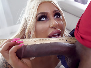 Thick Blonde rides monster BBC with joy