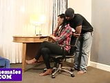 Black tgirl cockriding while jerking