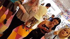 Candid voyeur tight black jeans teen in candy store