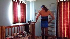 Wearing a sexy air hostess uniform & knee high boots