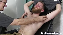 Blindfolded bearded slave tickle tormented by mature dom
