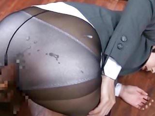 Blue  Nylon Panties And Pantyhose Cumshot