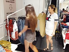 Candid voyeur latina shopping in skirt boots milf