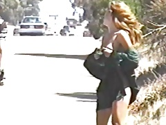 Vanessa flashes on busy public highway