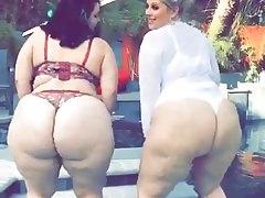 2 Big Fat White BBW Asses Twerkin' - Clip