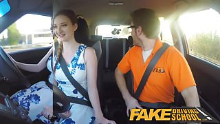 Fake Driving School pink nipples big tits redhead facial