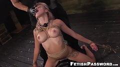 Choked sub babe rides Sybian before rough pounding