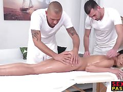 Spicy babe double teamed on the massage table
