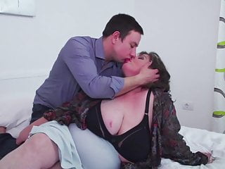 Really big BBW mother seduce lucky slim son