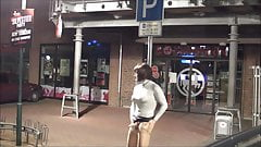 Wanking in public Nylon Pantyhose caught risky