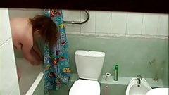 Just my chubby girlfriend totally nude in bath room. Hidden cam
