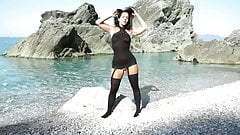 German brunette in stockings gets wish granted at the beach