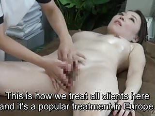 Subtitled CFNF Japanese oiled up lesbian vaginal massage spa