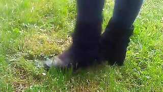 Fun with black suede boots 2