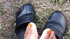 Ebony feet outside