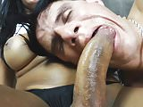 Smoking latina tranny dominates her man