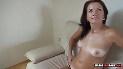 Desirable girlfriend stips and uses a dildo