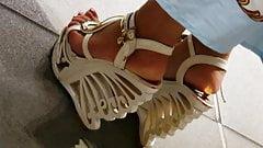 Candid horny feet in umbelievable wedges heels