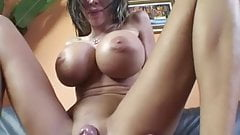 Huge silicone boobs milf rides young cock