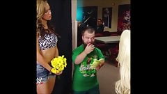 The Bitch AJ Lee kisses Hornswoggle.