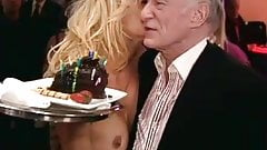 Pammy Anderson giving HH a treat