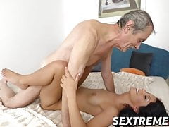 Grandpa is hungry to taste hot Vivien Bells wet juicy cunt