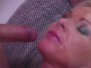 Gorgeous mom gets facial after nice sex