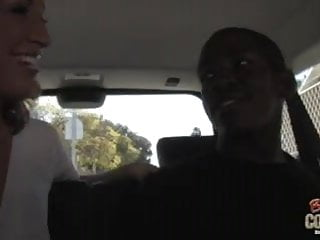 Hot white mommy fucked by black in the car