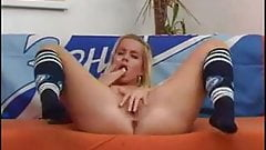 hot blonde cutie plays with herself for you
