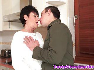 Dicksucking grandma rides fat cock