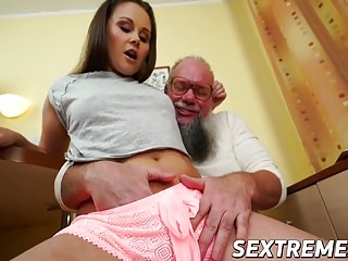 Horny pervert granpa Albert fucks cute brunette Liza Shay