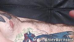Attractive army homosexual with tattoos masturbates solo