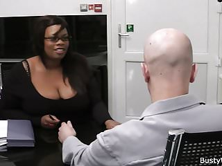 Ebony plumper sucks and rides cock for job
