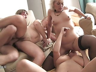 One guy fucks three horny mature sluts