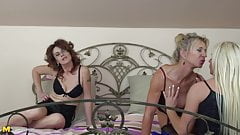 Three hot mothers lick and fuck each other