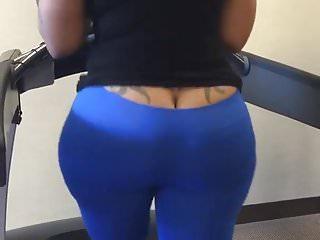 Cherokee Ass Crack Out Walking On Treadmill Loop