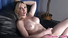 Transsexual babe spreads her tight ass