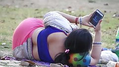 Aunty big ass show lying in park
