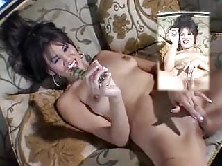 Sexy latina troublemaker fingers her tight cunt and plays with knobby cock dildo