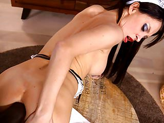 French maid Sandra Luberc takes BBC hardcore in both holes