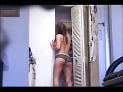 Amazing girlfriend in panties, caught on hidden cam