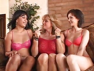 Petite lesbian trio lick each other's creamy muffs then dildo pump briskly