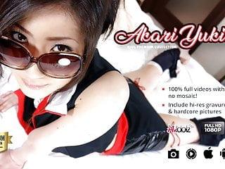 Lusty Japanese chick Akari Yukino bounces on hard hairy dick