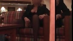 My MILF Exposed Hot wife in stocking playing pussy in public's Thumb