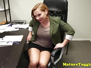 Office stepmom tugging pervert stepsons cock