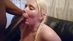 Amateur curvy girl sucks her first huge black cock