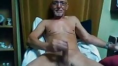 old man jerk his thick cock